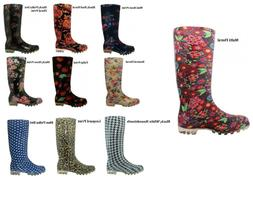 Womens Unlined Assorted Print Rubber Rain Boots Sizes 6 7 8