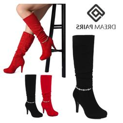 DREAM PAIRS Women Knee High Platform High Heel Winter Almond