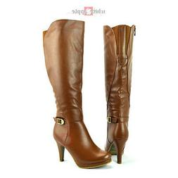 Women Knee High Riding Boots High Heel Platform Zipper Top M