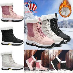 Women Ladies Fur Lined Anti-Slip Snow Boots Winter Warm Snea