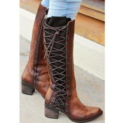 Women Ladies Over The Knee High Riding Boots Lace Up Zip Low