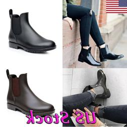 Women Man Neutral Short Rain Boots Waterproof Slip On Ankel