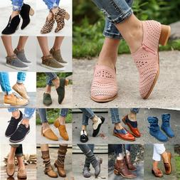Women Mid Block Heels Ankle Leather Boots Casual Chunky Flat