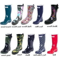 Women's Rubber Rain Boots - Mid-Calf 11' Waterproof Wellies