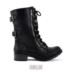 Soda Women Military Combat Mid Calf Boots Lace Up w/ Zipper