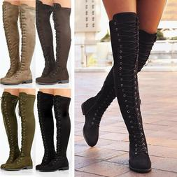 Women Over The Knee Boots Thigh High Low Flat Heels Lace Up