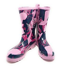 "Women Rain Boots, 11"" Rubber Waterproof Garden Wellies, Pink"