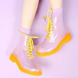 Women Rain shoes Clear Rain Ankle Boots Jelly Martin Lace up