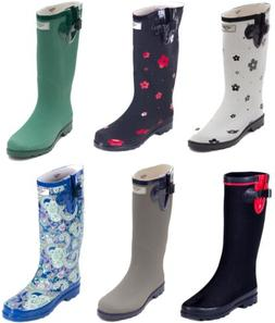 Women's Rubber Rain Boots - Matte Mid-Calf Waterproof Wellie