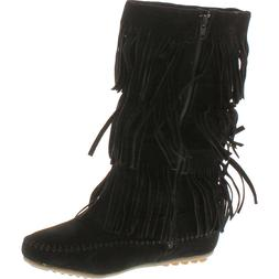 Women's 3 Layer Fringe Boots, Black, 10 M US, New With Box