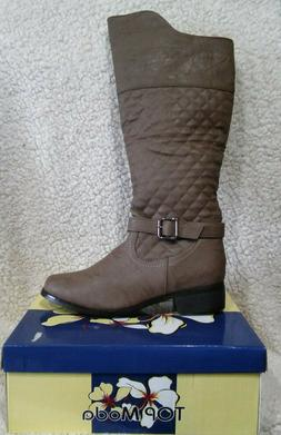 New TOP MODA Size 7.5 Alice-1 Knee High Quilted Riding Boots