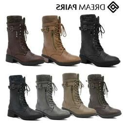 c95de3844fa DREAM PAIRS Women s Amazon Mid Calf Lace Up Military Zipper