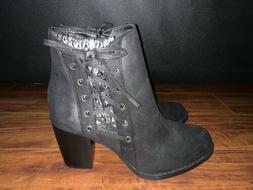 RAMPAGE Women's Ankle Boots Black Booties Knit Zip Up Heels