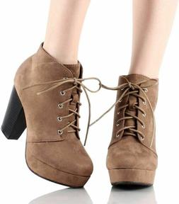 Women's Ankle Boots Lace Up Block Chunky Heel Dress Booties