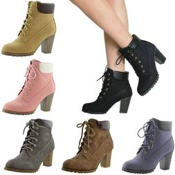 Women's Ankle Boots Lace Up Booties Chunky Stacked High Heel