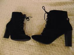 Women's Top Moda Ankle Boots Size 8 Black Suede Lace Up 3.5""