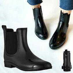 Women's Black Ankle Rain Shoes Anti Slip Waterproof Ladies C
