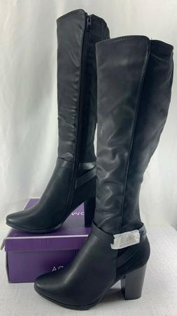 TOP MODA Women's Black Chapo Faux Leather Boots Size 10