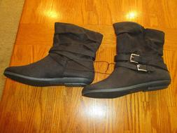 RAMPAGE WOMEN'S BLACK FAUX SUEDE ANKLE BOOTS FLAT SIZE 6.5