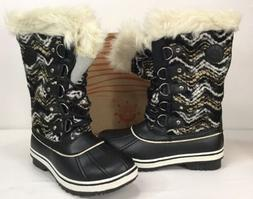 Globalwin Women's Black/White Leather Snow Boots SZ US 7.5 E