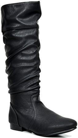 DREAM PAIRS Women's BLVD Black Pu Knee High Pull On Fall Wea