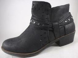 RAMPAGE Women's Booties Black Zip Up Western Dress Ankle Boo