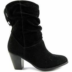 Rampage Women's Boots Trixen Round Toe Black Suede Mid Calf