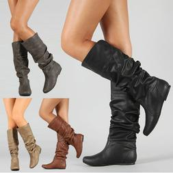 Women's Casual Comfort Mid Calf Knee Boots Point Toe Slouch