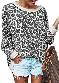ECOWISH Women's Casual Leopard Print Pullover Long Sleeve Sw