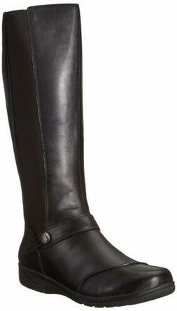 Clarks Women's Cheyn Meryl Fashion Boot, Black Leather, 11 W