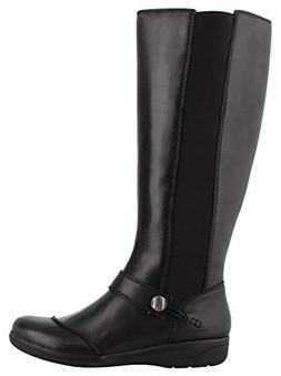 Clarks Women's Cheyn Meryl Fashion Boot, Black Leather, 8 M