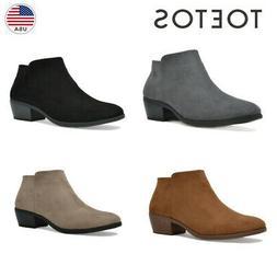 TOETOS Women's Chunky Ankle Boots Low Block Heels Boots Zip