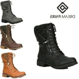 DREAM PAIRS Women Mid Calf Lace Up Combat Boots Ladies Zippe