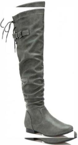 DREAM PAIRS Women's Colby Over The Knee Pull On Boots
