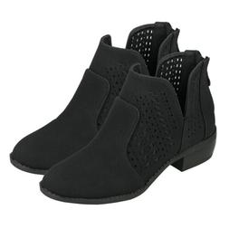Women's Cut Out Black Ankle Boots Booties Low Block Heel Bac