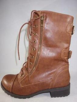 Soda Dome Sa Womens Combat Boots Brown Mid Calf Casual Zip L