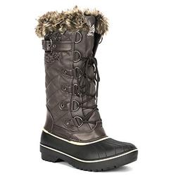 DREAM PAIRS Women's DP-Avalanche Brown Faux Fur Lined Mid Ca