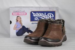 Women's Skechers Easy Going-Zip It Ankle Boots Chocolate Bro