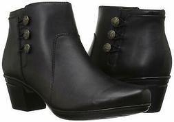 CLARKS Women's Emslie Monet Ankle Bootie, Black Leather, Siz
