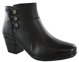 CLARKS Women's Emslie Monet Ankle Bootie, Black Leather, 7.5