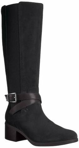 Clarks Women's Emslie Sinai Wide Calf Winter Boot, Black, 8.