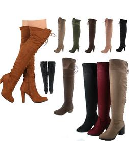 Women's Fashion Back Lace Up Chunky Heel Over The Knee Boots