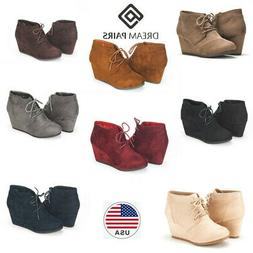 DREAM PAIRS  Womens Low Wedge Heel Booties Ladies Casual Lac