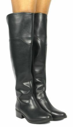 TOETOS Women's Fashion Knee High Side Zipper Low Heel Leg Ca