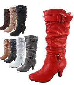Women's Round Toe Low Heel Zipper Slouchy Mid-Calf Boots Sho