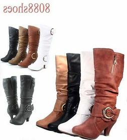 Women's Fashion Mid-Calf Low Heel Round Toe Big Buckle Boots