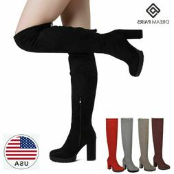 DREAM PAIRS Women's Fashion Over The Knee Chunky High Heel T