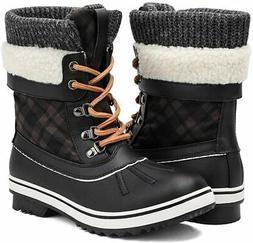 ALEADER Women's Fashion Waterproof Winter Snow Boots, Black,