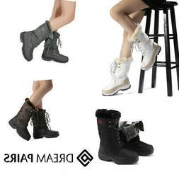 DREAM PAIRS Women's Faux Fur Lace Up Winter Warm Snow Boots