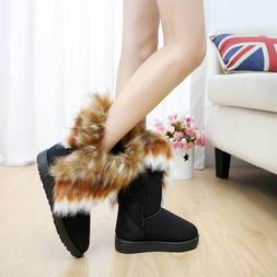 Women's Faux Fur Tassel Winter Snow Boot Suede Flat Ankle Bo